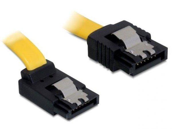 Kabel Delock SATA DATA 0,2m z zatrzaskami metalowymi (krótkie wtyczki) kątowy
