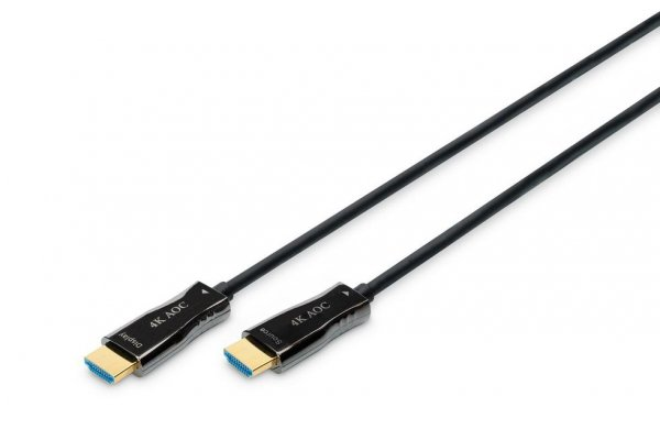 Kabel DIGITUS połączeniowy hybrydowy AOC HDMI 2.0 Premium High Speed Ethernet 4K60Hz UHD HDMI A/HDMI A M/M czarny 15m
