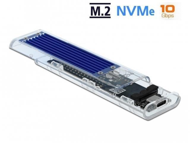 Obudowa na dysk Delock SSD zewnętrzna M.2 NVME USB type-C 3.1 Gen 2 przeźroczysta
