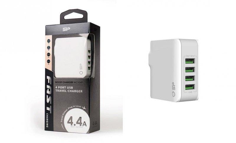 Ładowarka sieciowa Silicon Power Boost Charger WC104P 2,4A (22W) 4xUSB, wersja global