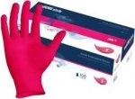 Rękawice do manicure NITRYLOWE różowe bezpudrowe- 100 sztuk - XS,S,M