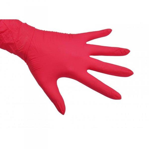 Różowe rękawice do manicure NITRYLOWE  bezpudrowe- 100 sztuk - XS,S,M