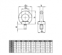 Śruba z uchem M20 ocynk DIN 580