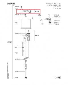 Podzespół zaworu wylotowego do dozownika Dosatron D25RE MP178