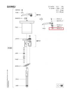 Dolny zawór wylotowy do dozownika Dosatron D25RE PO12l