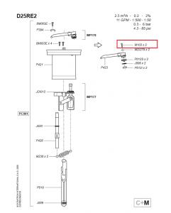 Śrubka M103 do zaworu wylotowego do dozownika Dosatron D25RE