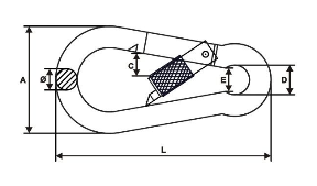Karabińczyk z zabezpieczeniem 12mm