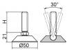 Stopka regulacyjno-przegubowa fi50 - M12x60