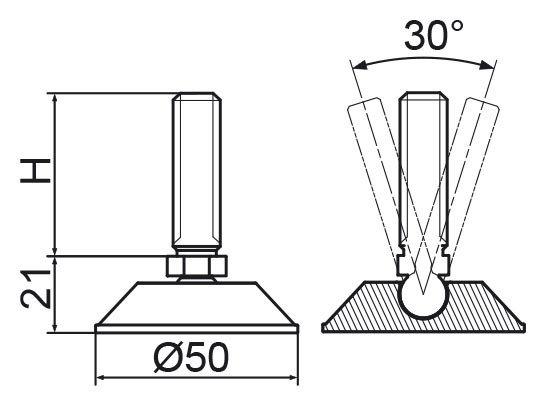 Stopka regulacyjno-przegubowa fi50 - M12x40