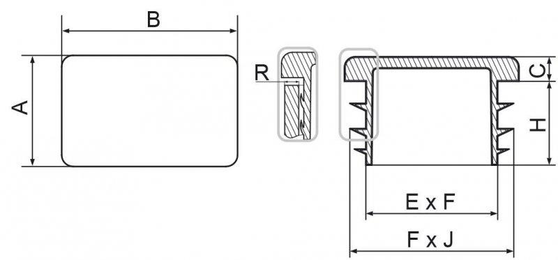 Zaślepka prostokątna 30x80mm - 10 sztuk