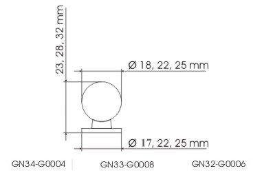 Gałka meblowa GN32 - chrom
