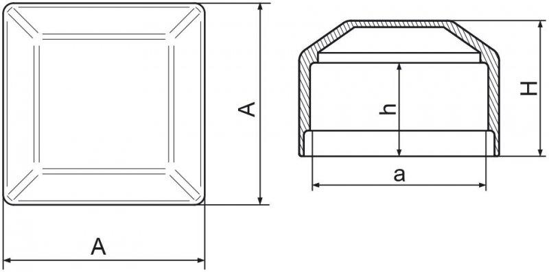 Nasadka na słupek ogrodzeniowy 30x30 mm - 100 sztuk