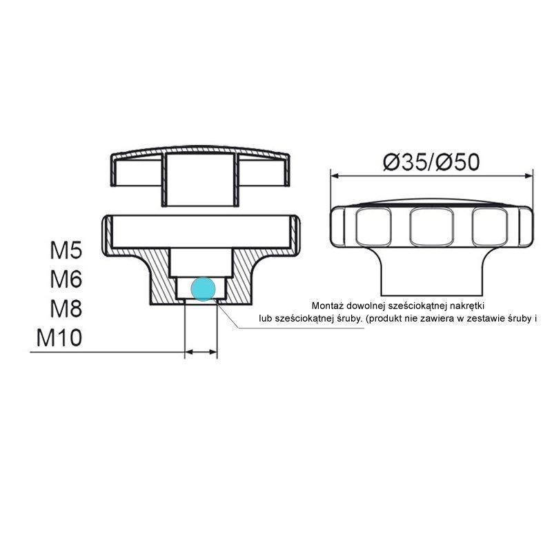 POK-02 Pokrętło składane fi35 M8 - 100 sztuk