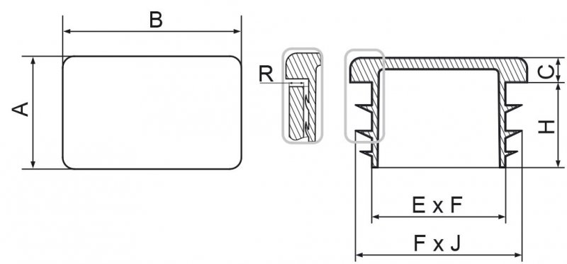 Zaślepki prostokątne 10x20mm (śc. 0,8-1,0) - 100 sztuk