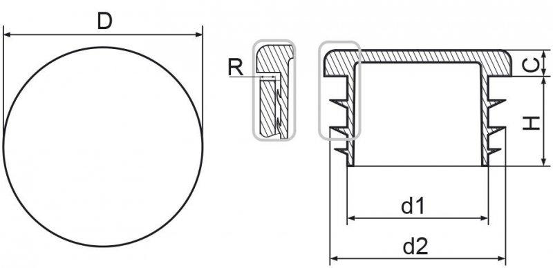 """Zaślepka okrągła calowa 21,3mm (1/2"""") - 100 sztuk"""
