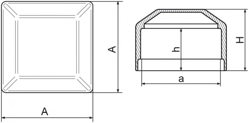 Nasadka na słupek ogrodzeniowy 70x70 mm - 1 sztuka