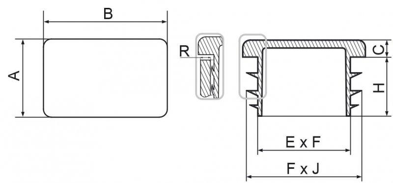 Zaślepki prostokątne 15x40mm - 50 sztuk