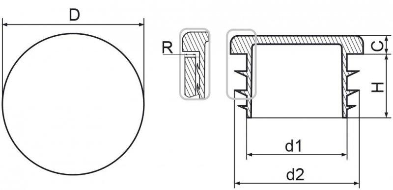 Zaślepka okrągła 45mm - 10sztuk