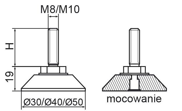 Stopka regulacyjno-obrotowa nitowane fi50 - M10x60 - 4 szt.