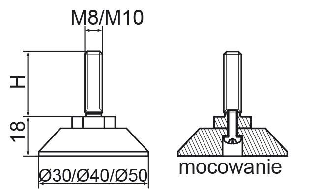 Stopka regulacyjno-obrotowa skręcana fi50 - M12x50 - 4 szt.