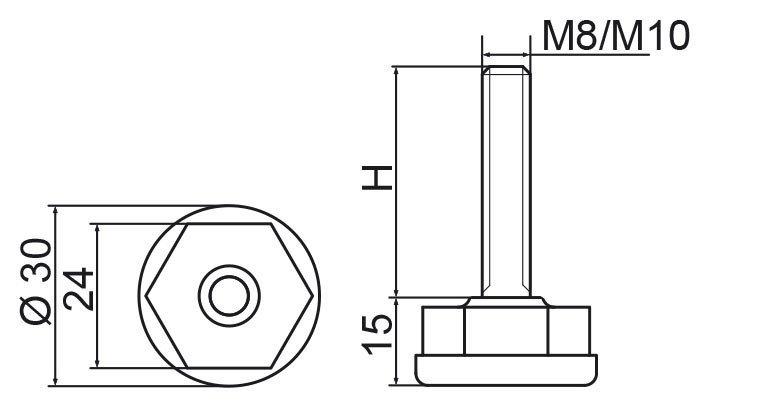 Stopka regulacyjna fi30 - M8x75 - 4 szt.