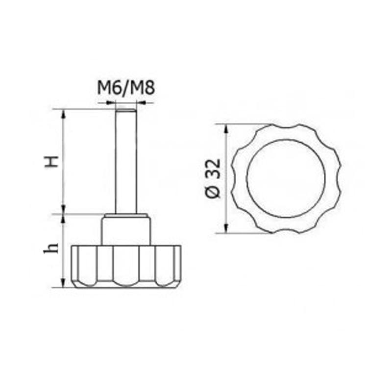 POK-01 Pokrętło fi32 M6x15