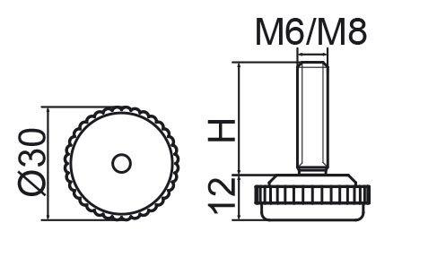 Stopka regulacyjna fi30 - M8x25 - 4 szt.
