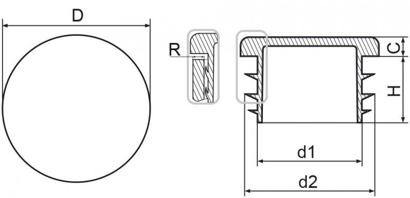 Zaślepka okrągła 20mm - 50sztuk