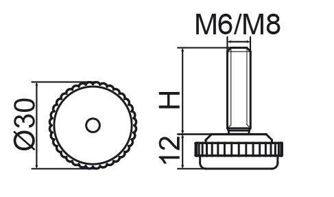 Stopka regulacyjna fi30 - M8x30 - 4 szt.