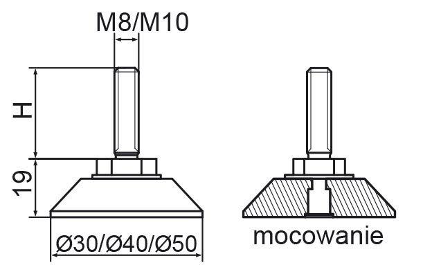 Stopka regulacyjno-obrotowa nitowane fi50 - M10x30 - 4 szt.