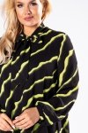 tiulowa sukienka o prostym kroju z bufiastymi rękawami i wiązaniem przy szyi