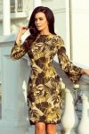 Sukienka dzienna S-XL sweterkowa 221-2 Musztardowa Liście