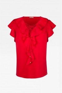 Koszulka z sznurowanym dekoltem 295 Red