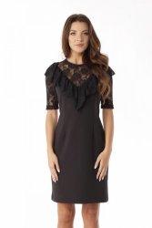 Dopasowana sukienka z koronkową falbanką ED07-2 Black