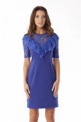 Dopasowana sukienka z koronkową falbanką ED07-1 Chaber