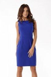Dopasowana sukienka odcięta w pasie ED06-2 Blue