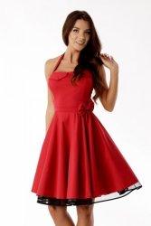 Sukienka rozkloszowana PIN UP bordowa ED01-1 Bordo
