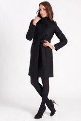 Przytulny płaszcz z paskiem PLA023 Black