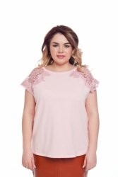Bawełniana bluzka z koronkowym rękawem TR2006 Pink