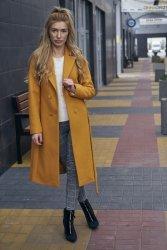 Dwurzędowy wiosenny płaszcz z paskiem Bella PLA036 Bursztyn