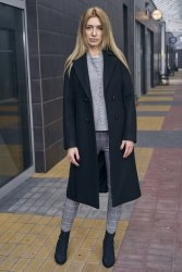 Dwurzędowy wiosenny płaszcz z paskiem Bella PLA036 Black