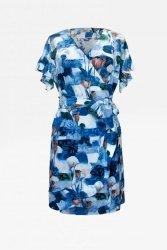 Sukienka kopertowa z falbanką 292 Blue Colorful