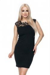 Elegancka sukienka S-XL 0108 Czarna MINI koronka