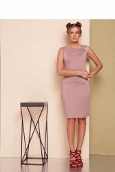 Sukienka z asymetrycznym dekoltem GR1539 Cappuccino