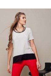 Elegancka bluzka z krepy szyfonowej GR1421 Milk