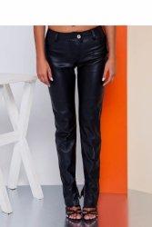 Dopasowane spodnie z eko-skory GR1553 Black