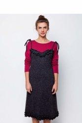Ciepła sukienka na cienkich ramiączkach GR1575 Dark Grey