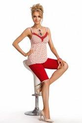 Piżama Damska Model Candy 3/4 Ecru/Red