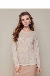 Delikatny sweter o luźnym kroju GR1343 Beige