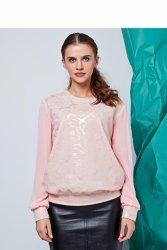 Elegancki sweter z dwóch materiałów GR1403 Pink